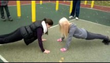 Kazan girl`s working out. Mila and Inna push-up with claps