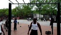 Workout in Lincoln Terrace Park.